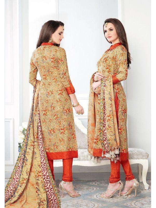 Beige Orange Pashmina Suit