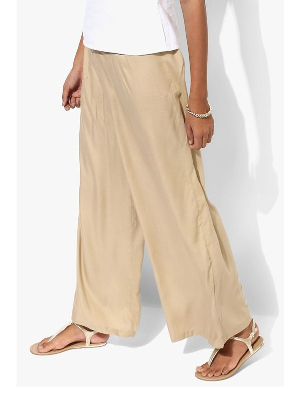 Beige Solid Coloured Palazzo