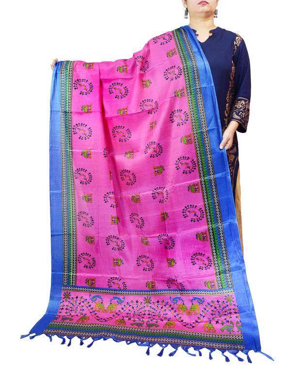 Bhagalpuri Magenta Blue Color Dupatta