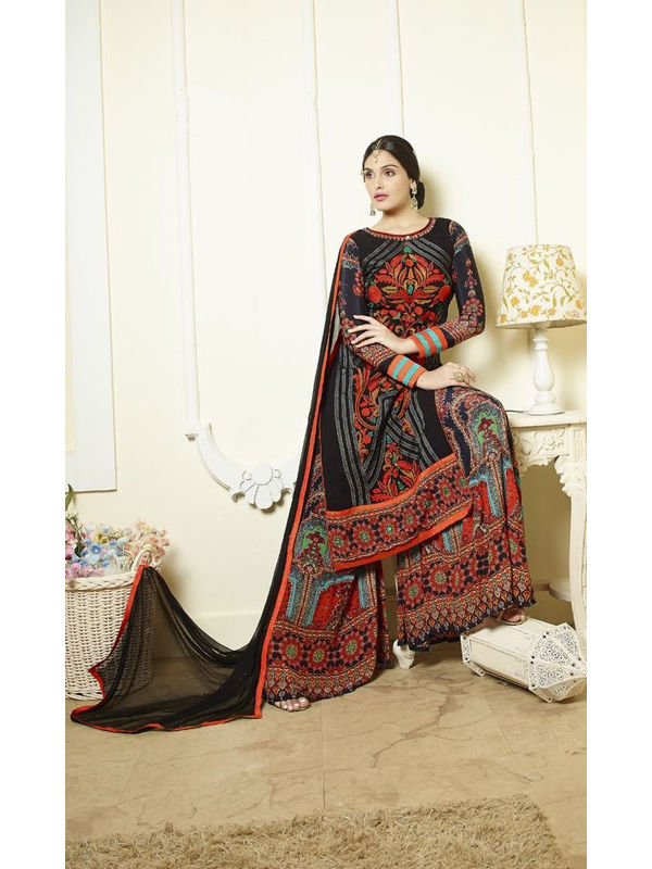 Black Color Pure Georgette Heavy Embroidered Formal Suit With Dual Bottom