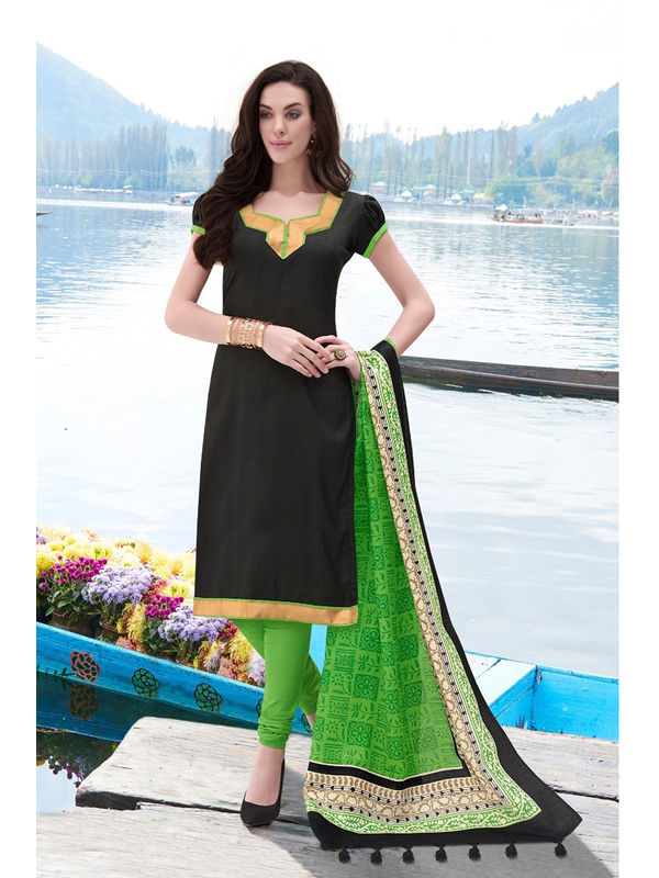 Black Green Color Bhagalpuri Silk Suit With Bhagalpuri Dupatta