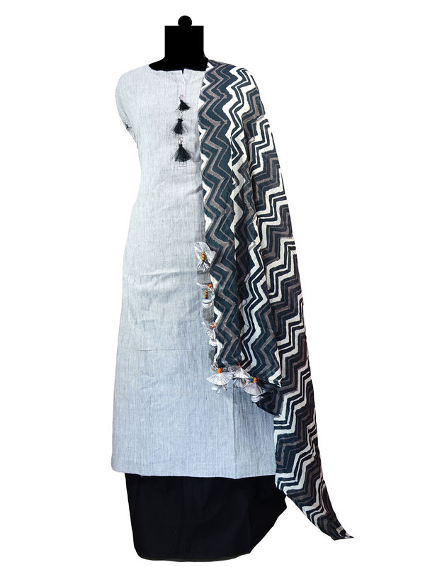 Black Grey Color Cotton Embroidered Suit With Handmade Scarf