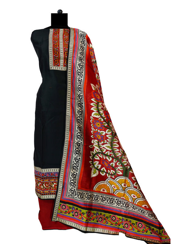 Black Maeshwari Cotton Suit With Maeshwari Printed Dupatta
