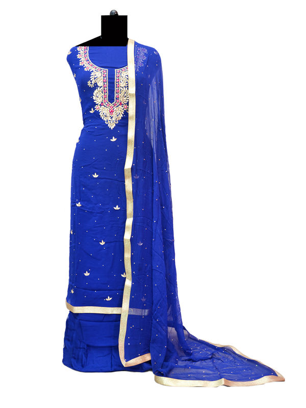 Blue Color Gota Patti Mirror Work Geogette Unstitched Suit