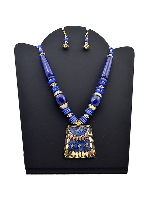 Blue Golden Carved Tribal Stone Necklace
