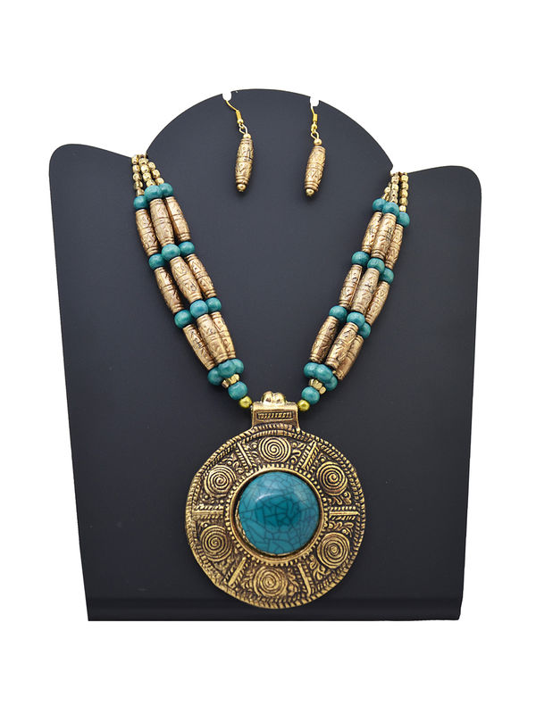 Blue Golden Metal Tribal Stone Necklace