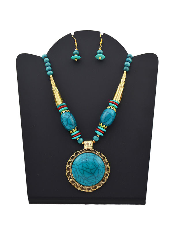 Blue Golden Stonned Tribal Necklace With Earrings
