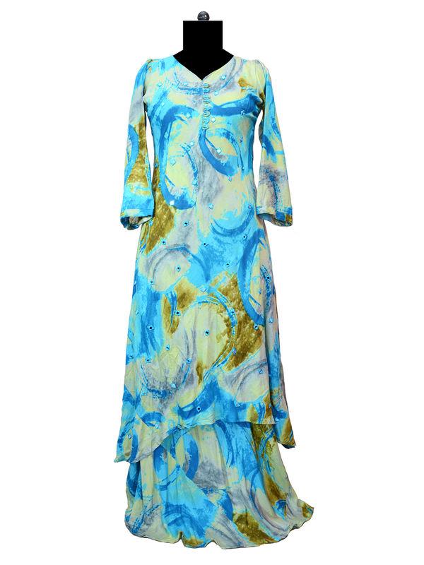 Blue Heavy Cotton Mirror Work Gown
