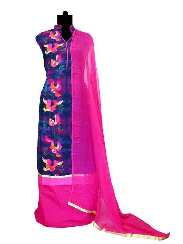 Blue Magenta Thread Embroidered Cotton Suit With Pure Chiffon Dupatta
