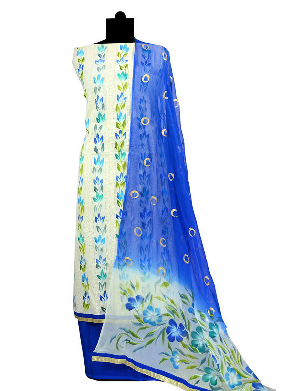 Chikenkari Hand Painted & Embroidered Cotton Suit With Pure Chiffon Dupatta