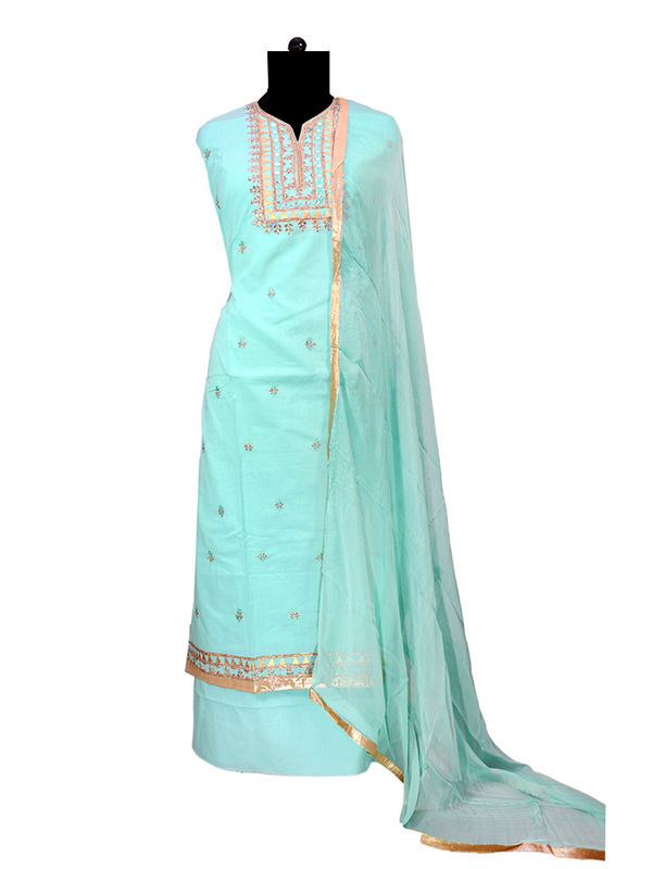 Cotton Blue Metal Embroidered Suit With Pure Chiffon Dupatta
