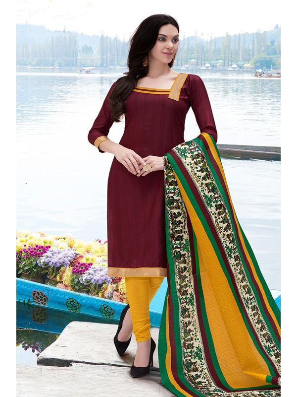 Dark Brown Color Bhagalpuri Silk Suit With Bhagalpuri Dupatta