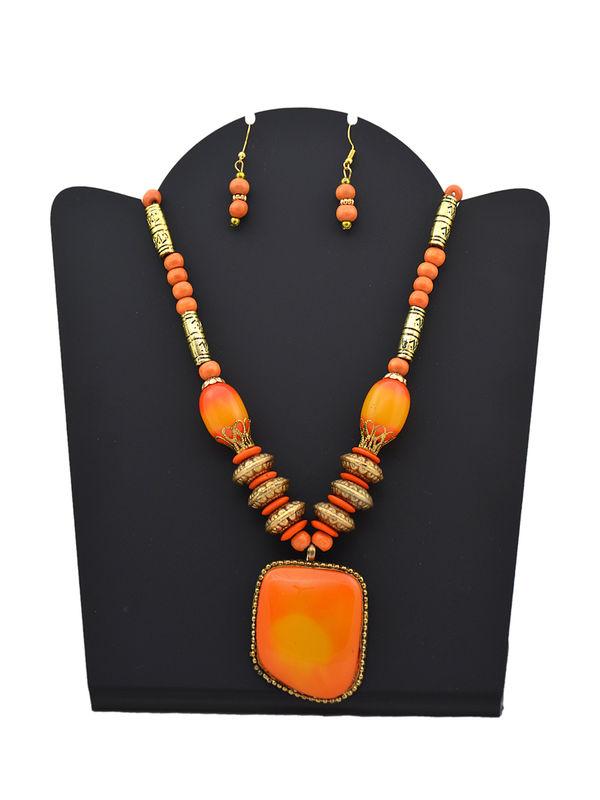 Ethnic Orange Color Stone Immitation Necklace