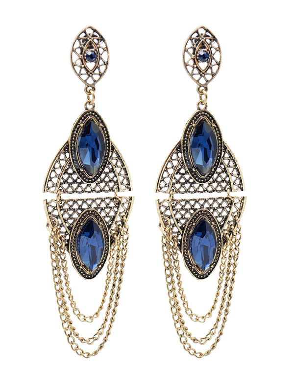 Formal Black Golden Metal Blue Danglers