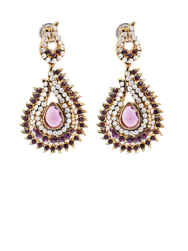 Formal Danglers Golden Pink With White Pearl