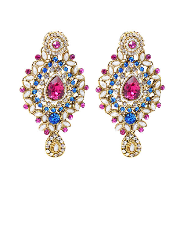 Formal Danglers Golden Red With Kundan Work