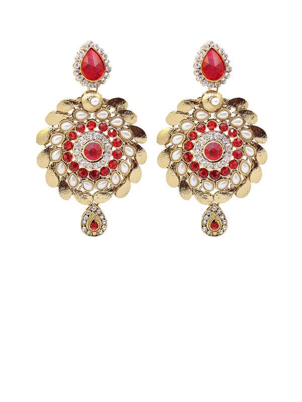 Formal Danglers Golden Red With Kundan Work