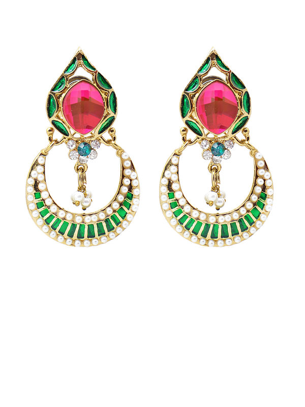 Formal Danglers Green And Magenta With Pearl Work