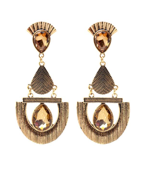 Formal Egyptian Golden Brown Oxidised Danglers