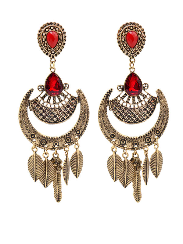 Formal Egyptian Golden Oxidised Maroon Danglers