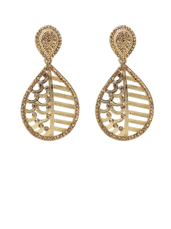 Formal Golden White Pearled Danglers
