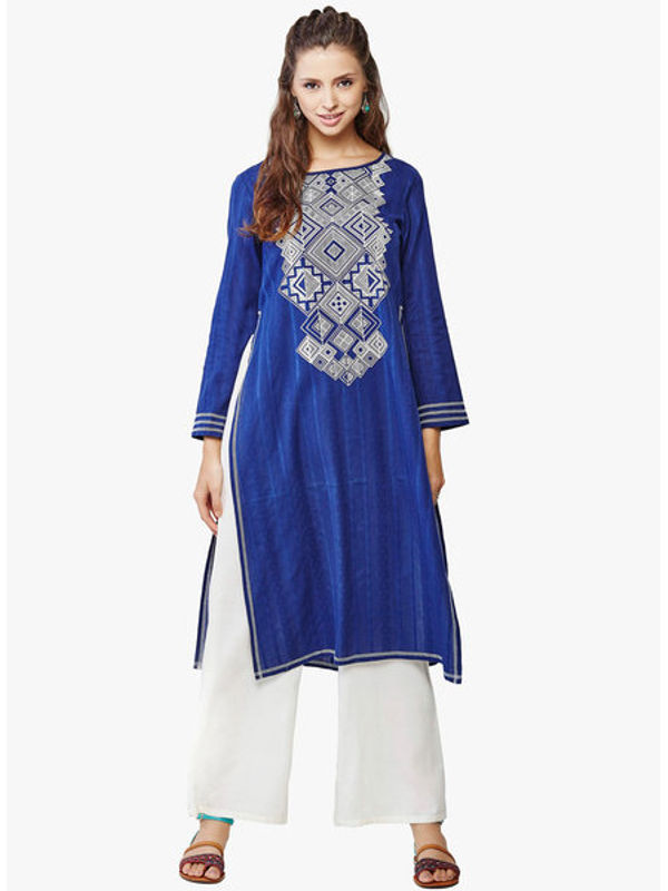 Global Desi Navy Blue Printed Kurta