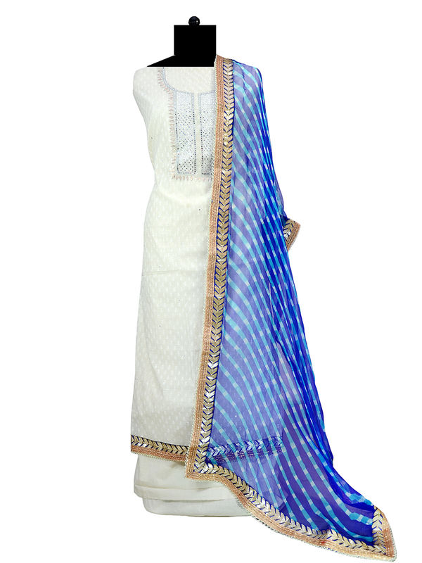 Gotta Embroidered Off White Chanderi Silk Suit With Pure Chiffon Duppata