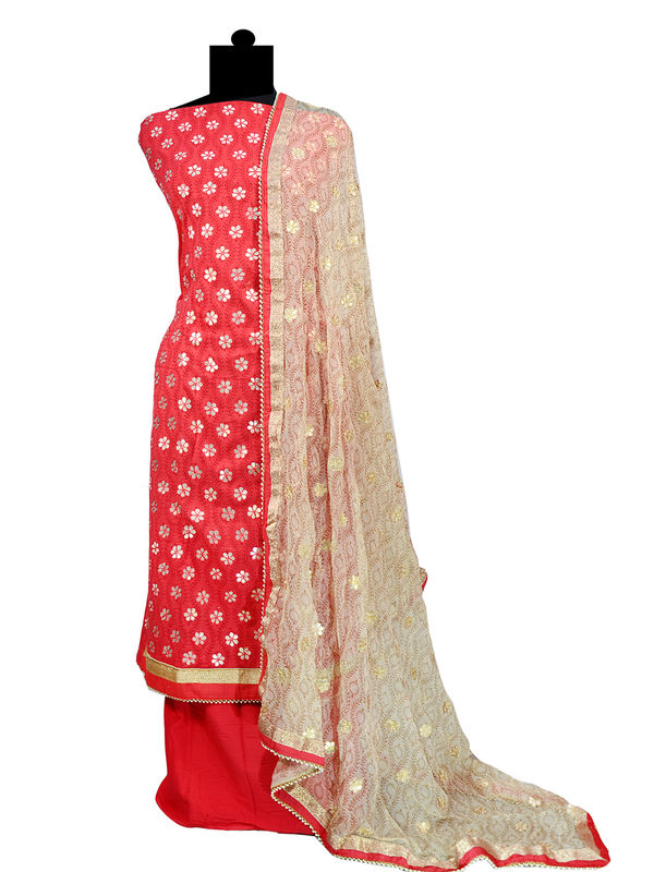 Gotta Embroidered Red Cotton Suit With Pure Chiffon Duppata
