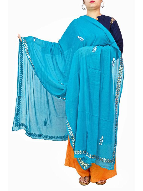 Gotta Patti Blue Color Chiffon Dupatta