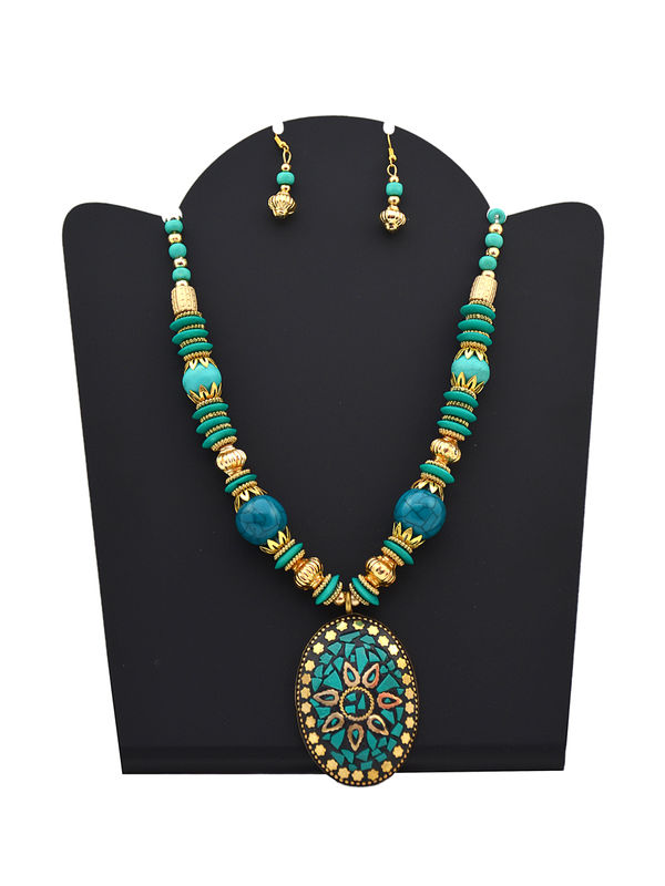Green Blue Beeded Stone Carved Tribal Necklace