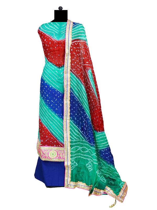 Green Blue Cotton Silk Gotta Patti Bandhani Suit