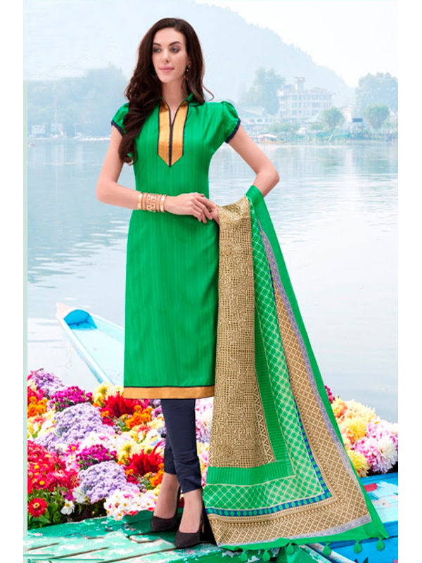Green Color Bhagalpuri Silk Suit With Bhagalpuri Dupatta