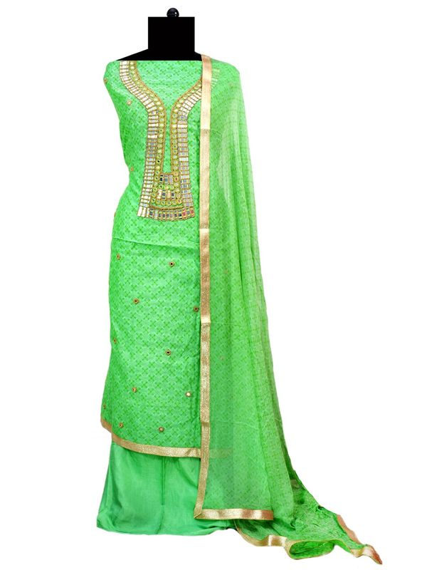 Green Color Chanderi Silk Mirror Work Embroidered Un-Stitched Suit
