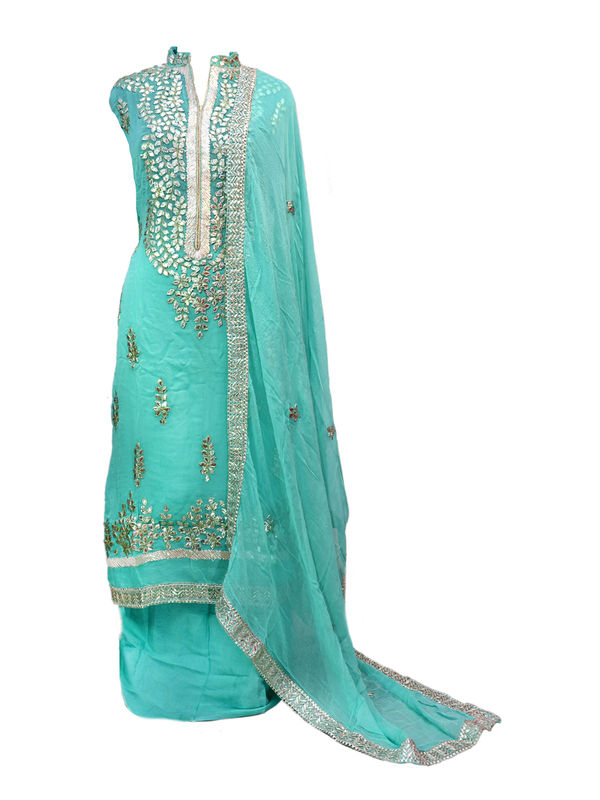 Light Blue Color Full Gota Patti Embroidered Geogette Semi Stitched Suit