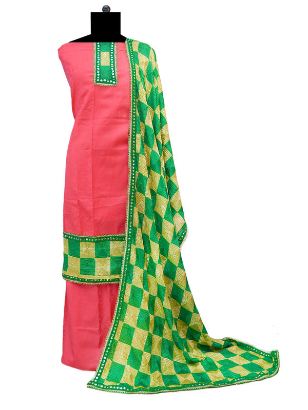 Green Phulkari Suit With Phulkari Dupatta