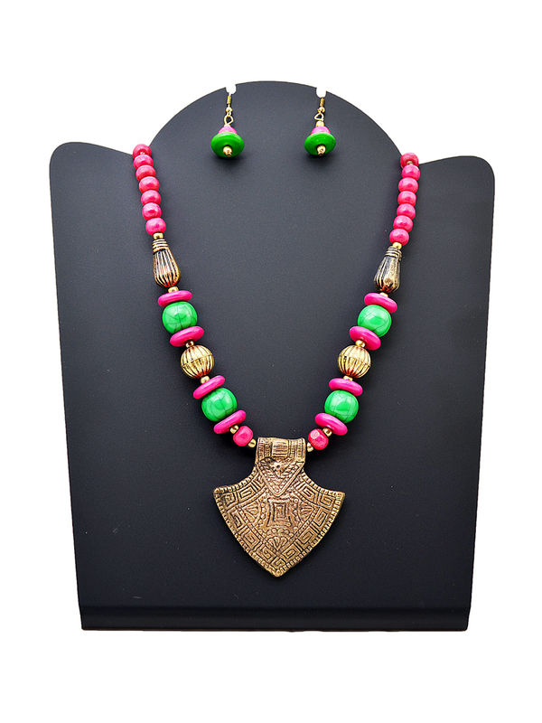 Green Pink Beeded Metalic Tribal Necklace