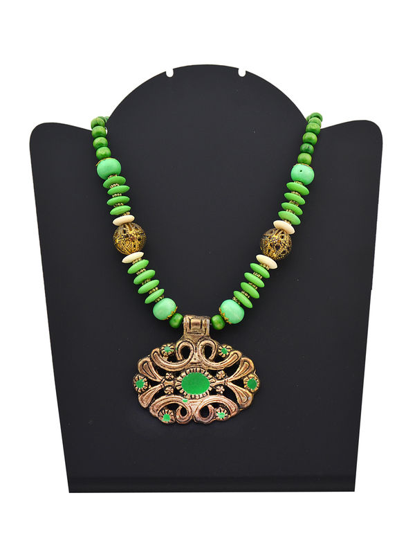 Green Tribal Metalic Necklace