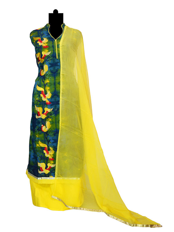 Green Yellow Thread Embroidered Cotton Suit With Pure Chiffon Dupatta