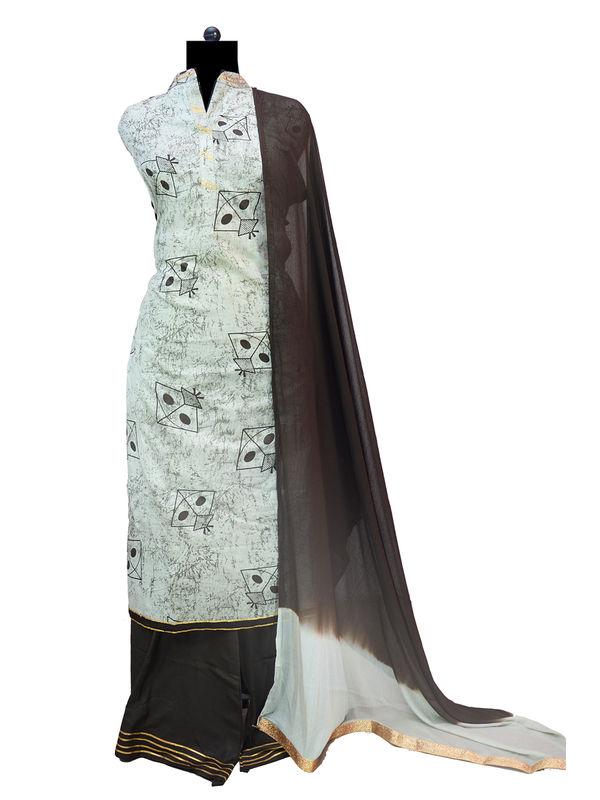 Grey Black Gotta Embroidered Cotton Suit With Pure Chiffon Dupatta