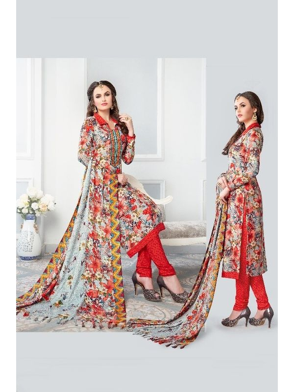 Grey Red Color Pashmina Suit With Embroidery