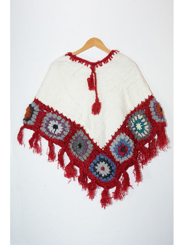 Hand Nitted Pure Wool White Red Color Poncho