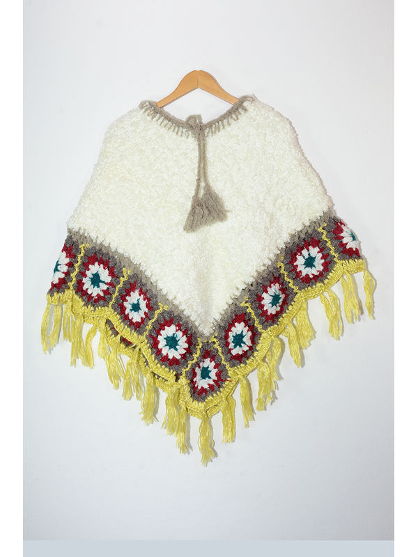 Hand Nitted Pure Wool White Yellow Maroon Color Poncho