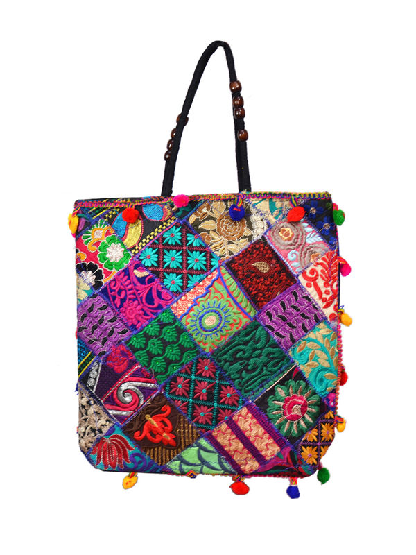 Handicraft Ethnic Printed Patchwork Black Handbag