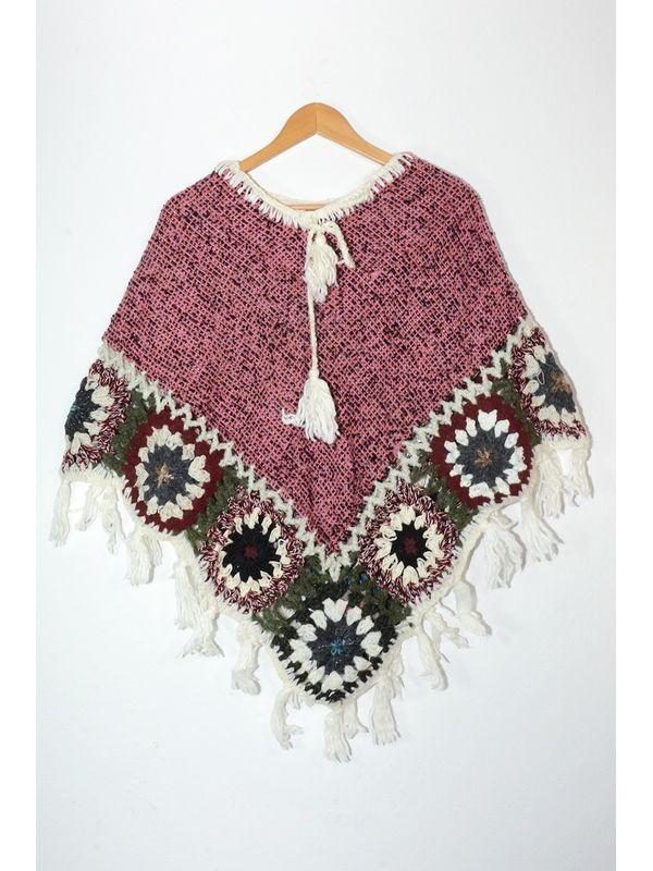Handmade Brown Multi Color Woolen Poncho