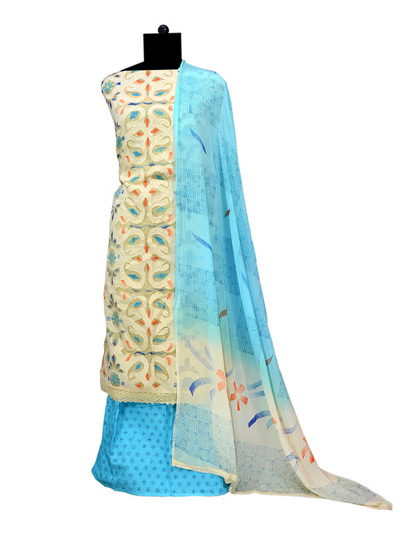 Handpainted Blue Cotton Suit with Pure Chiffon Handpainted Dupatta