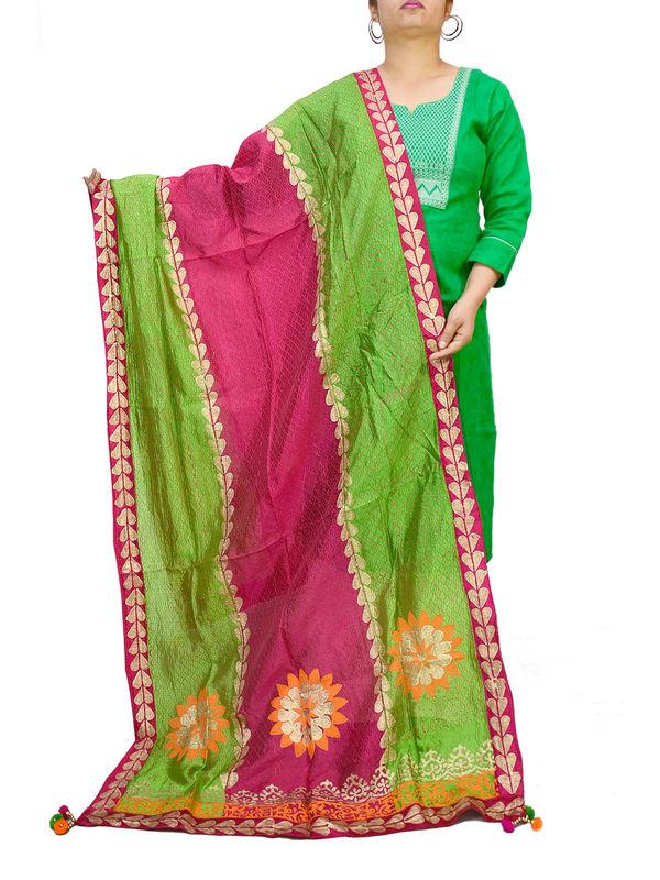 Handpainted Silk Green Magenta Dupatta