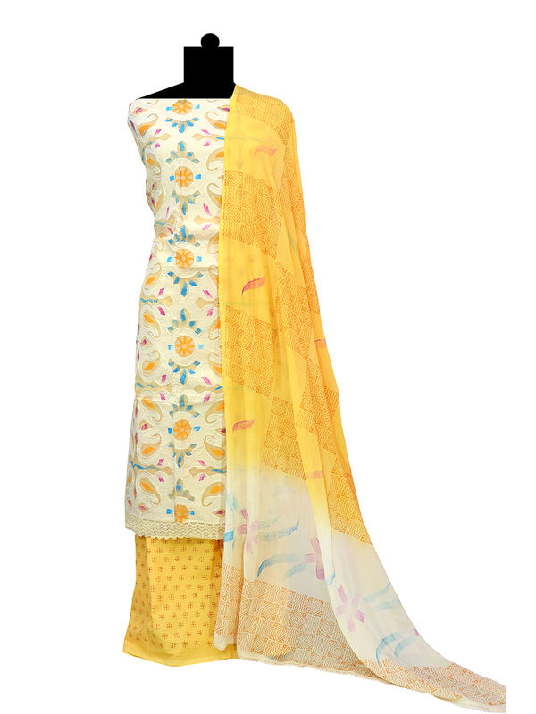 Handpainted Yellow Cotton Suit with Pure Chiffon Handpainted Dupatta