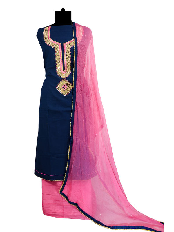 Jaipuri Navy Blue Cotton Neck Embroidered Suit With Pure Chiffon Dupatta
