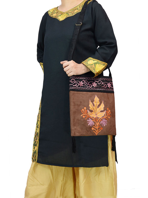 Kashmiri Brown Black Embroidered Suede Sling Bag