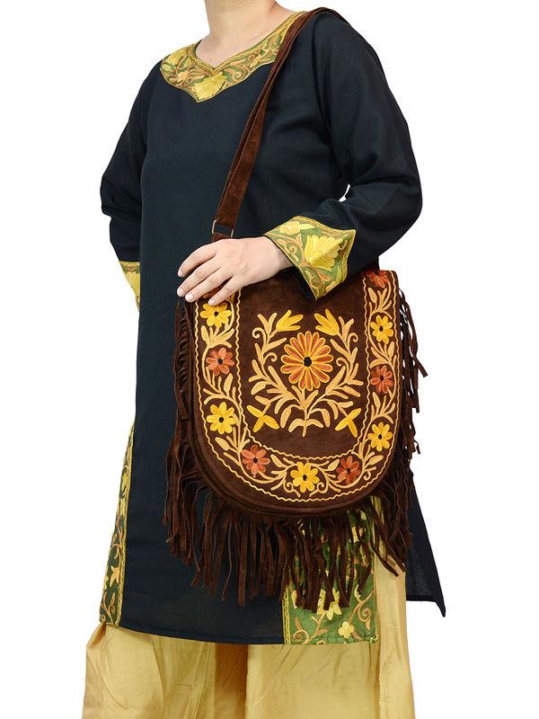 Kashmiri Chocolate Brown Multi Color Embroidered Suede Shoulder Bag